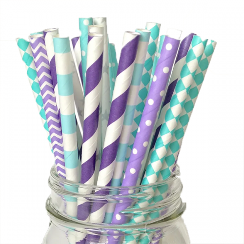 Purple and teal paper straws