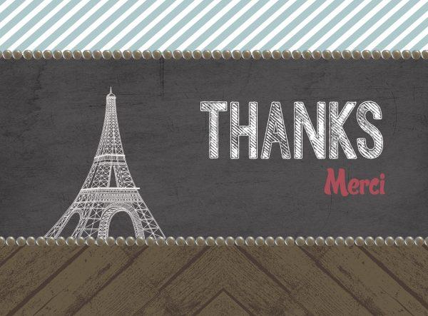 paris eiffel tower inspired thank you card