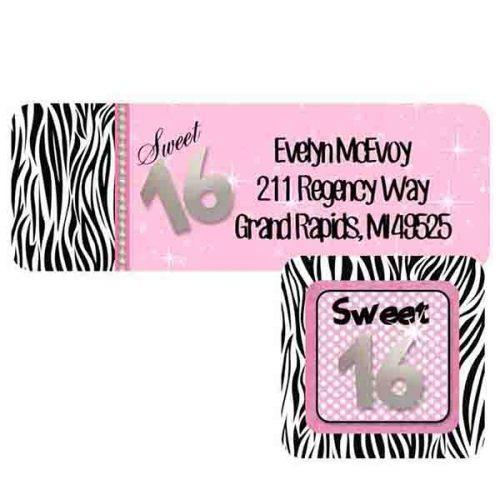 sweet 16 address label and envelope seal