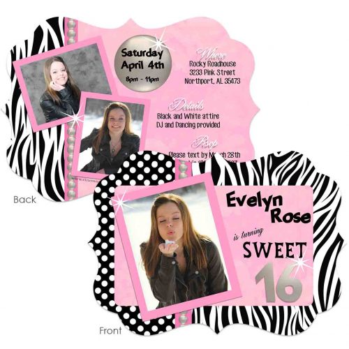 pink and zebra sweet 16 invitation