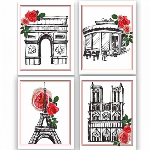 paris sketch 4x6 notecards