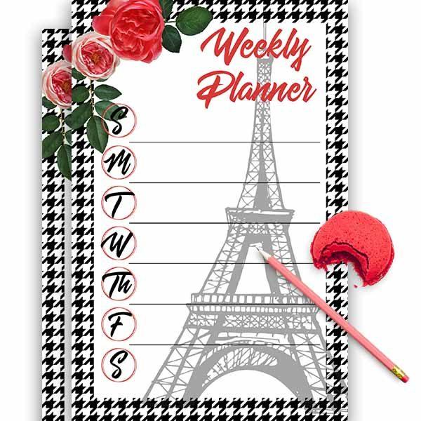 paris eiffel tower weekly planner