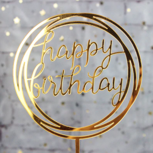 gold circle birthday cake topper