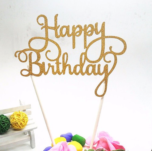 gold glitter birthday cake topper