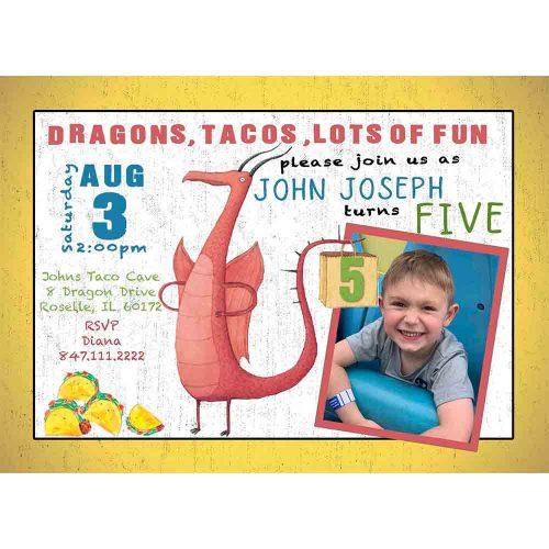 dragons love tacos invitation