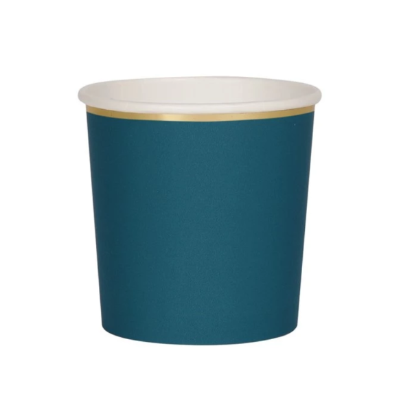 teal paper tumbler cup