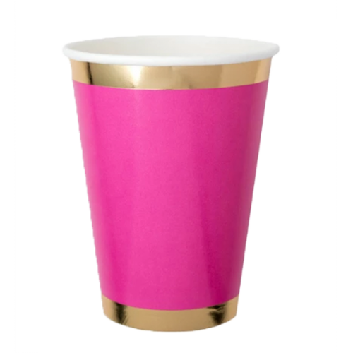 hot pink paper cup with gold trim