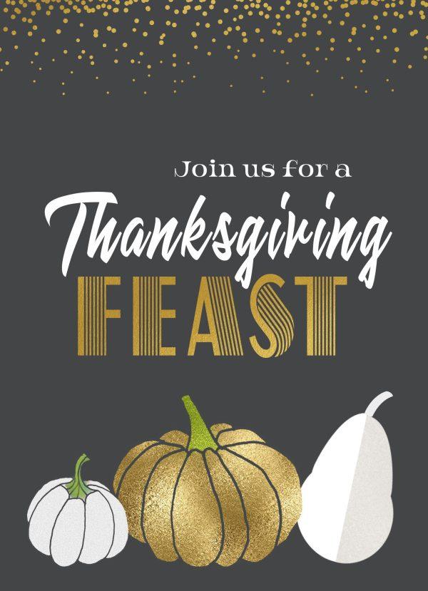 harvest glam thanksgiving invitation