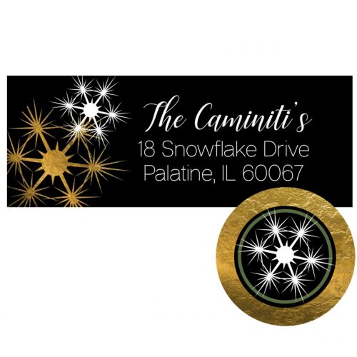 black and gold snowflake label