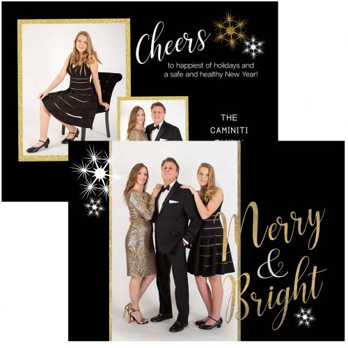 black and gold holiday greeting card
