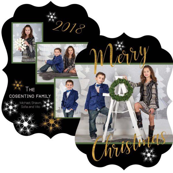 black and gold snowflake greeting card