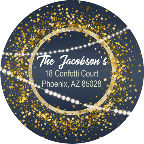 confetti star address label