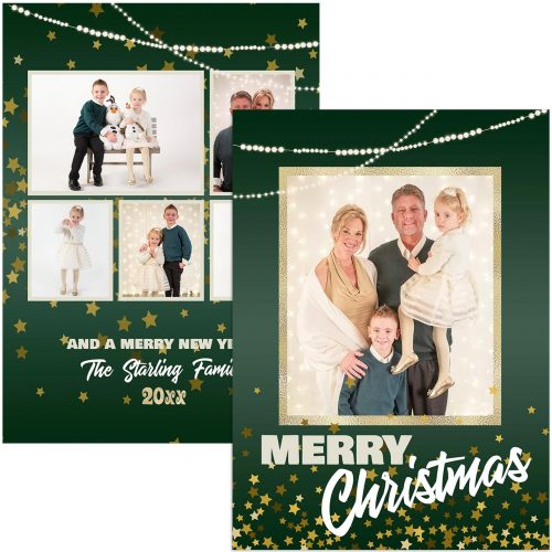 glitter and green photo christmas card