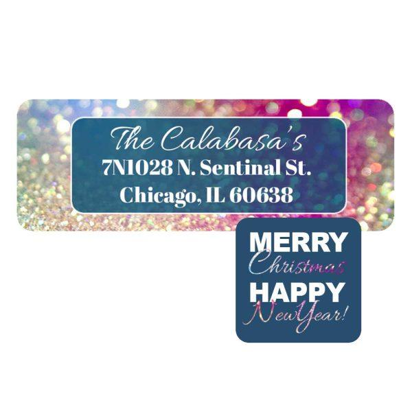 glitter holiday address label