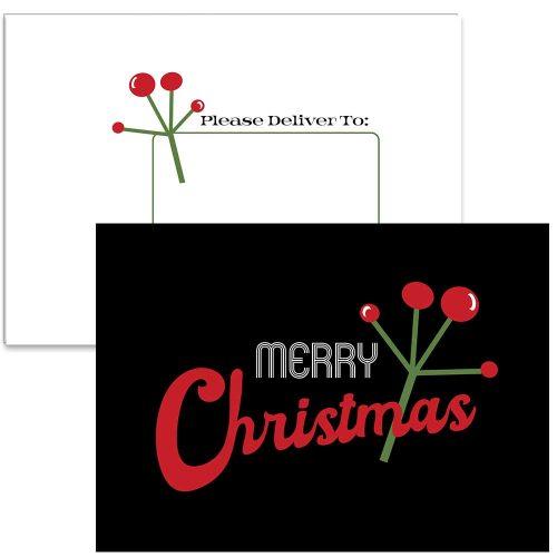 mid century modern mistletoe card set