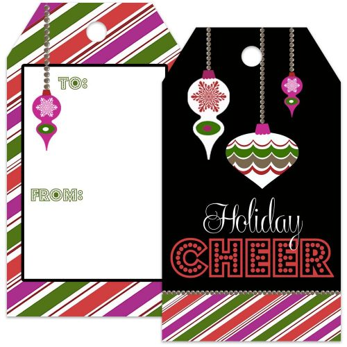 holiday cheer retro gift tag