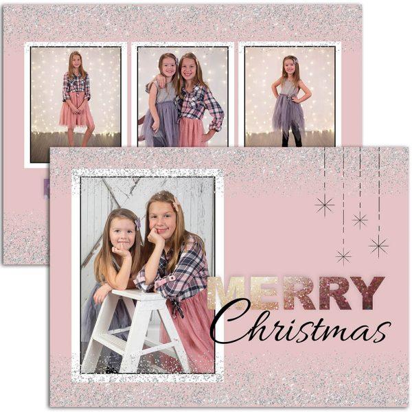 pink holiday greeting card