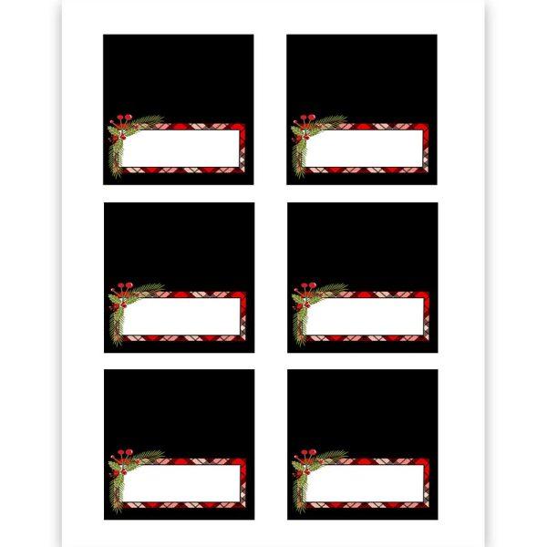 christmas plaid place cards